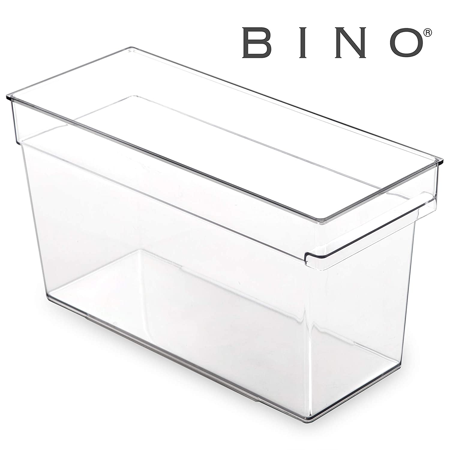 BINO Clear Plastic Storage Bin with Built-In Pull Out Handle - (Deep, Medium) - Storage Bins for Home, Kitchen, and Bath - Refrigerator, Freezer, Cabinet, Closet, Pantry Organization and Storage
