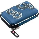 """QUMOX Blu (fiore) Custodia rigida da 2,5 """"HDD Borsa per il caso Portable Drive Hard Disk"""