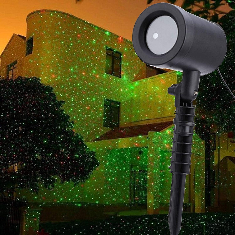 Christmas Projector Light,Waterproof Projector Lights Landscape Spotlight Red and Green Star Show for Indoor Outdoor Garden Patio Wall