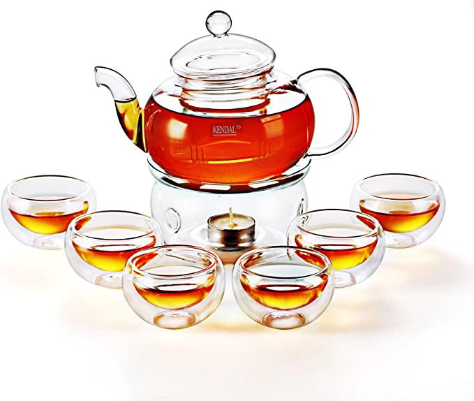 Amazon Com 27 Oz Glass Teapot Set Stovetop Safe Tea Infuser Maker With A Candle Warmer And 6 Double Wall Teacups Blooming Loose Leaf Tea Pot Cj 800ml Teapots