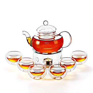 27 oz Glass Filtering Tea Maker Teapot with a Warmer and 6 Tea Cups CJ-800ml