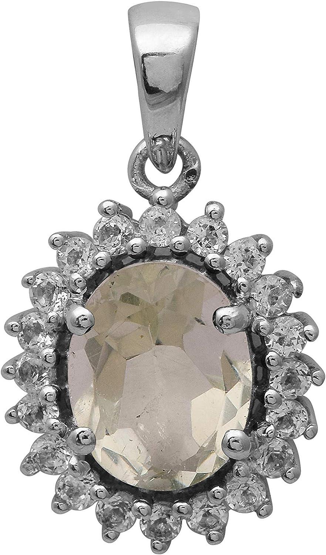 Shine Jewel Amatista Natural de 2.50 CT con topacio Blanco, Colgante de Apariencia clásica con Piedras Preciosas en Plata de Ley 925