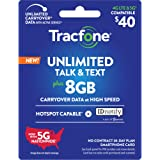 Tracfone $40 Unlimited Talk, Text, 8GB Data, Hotspot Capable - 30 Day Smartphone Plan