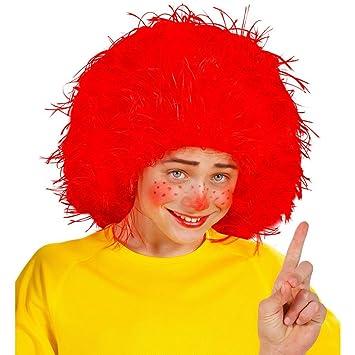 Peluca roja de payaso para niños postizo bufón carnval cumpleaños accesorios traje