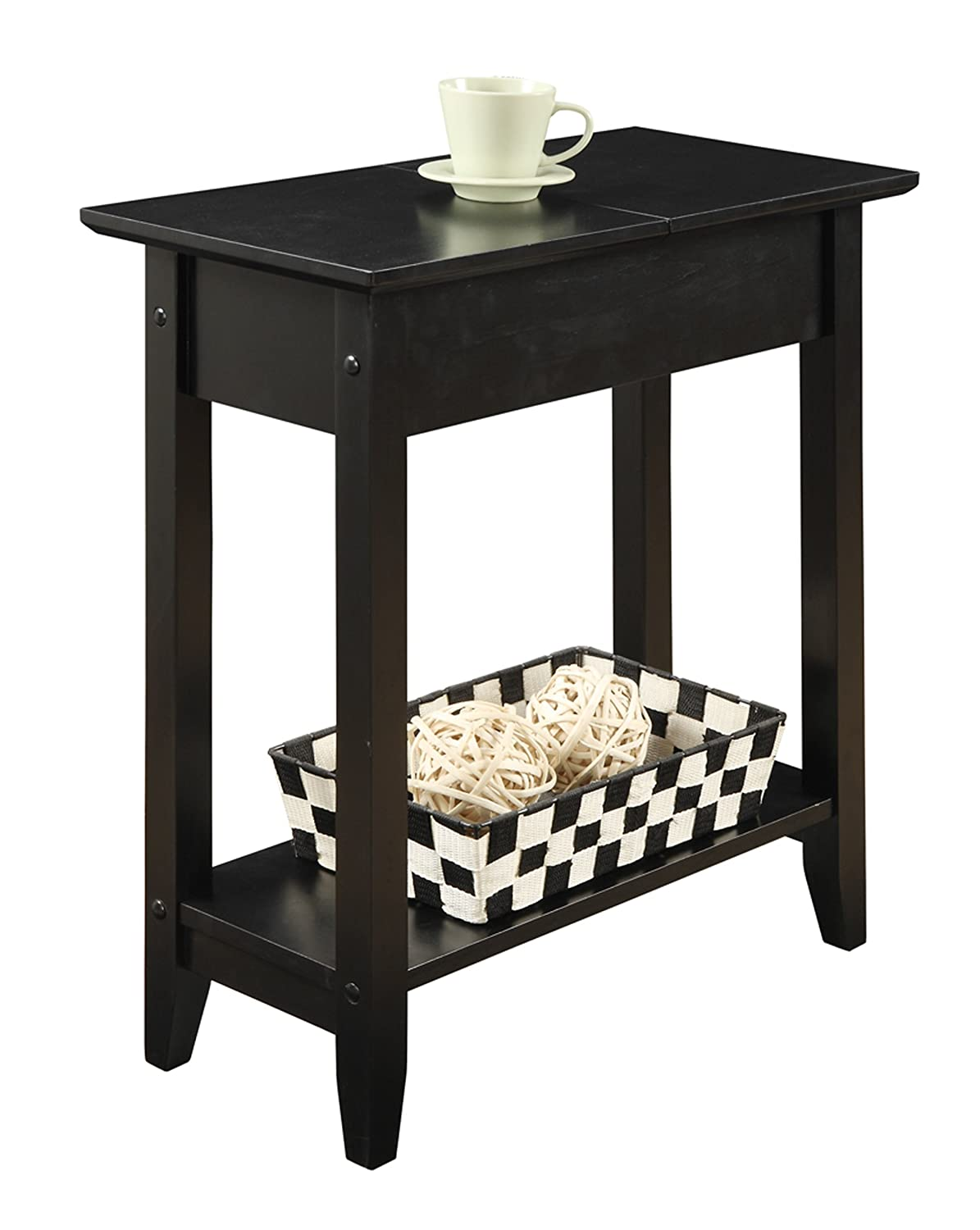 Amazon.com: Convenience Concepts American Heritage Flip Top End Table,  Black: Kitchen U0026 Dining