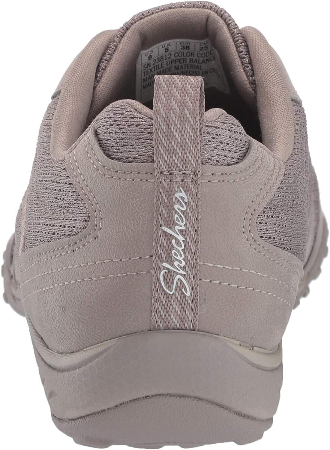 Skechers Breathe-Easy-Be-Relaxed, Baskets Enfiler Femme Beige Taupe Micro Leather Mesh Natural Trim Tpe