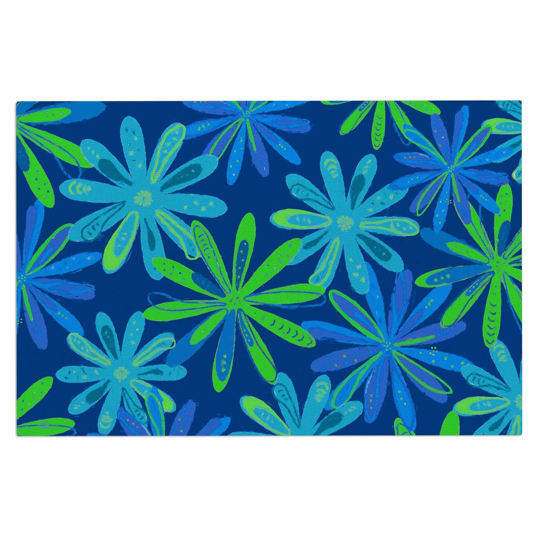 Kess InHouse Cristina Bianco Design Floral Pattern-Blue /& Green Blue Green Illustration Decorative Door 2 x 3 Floor Mat