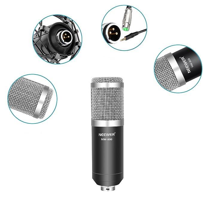 Neewer NW-800 Plata Profesional Micrófono de Condensador de Grabación & NW-35 Soporte de Brazo de Tijera de Suspensión Ajustable de Micrófono de ...