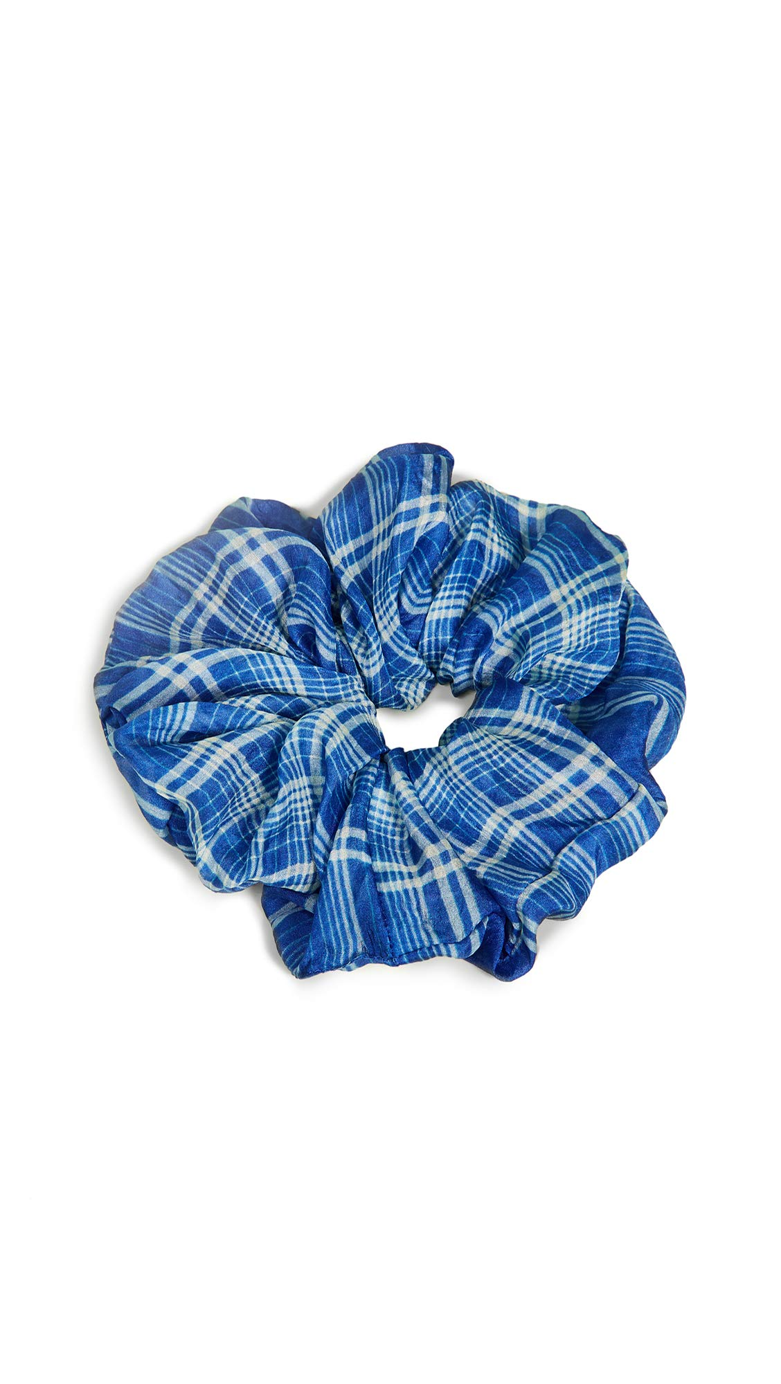 Chan Luu Women's Plaid Scrunchie, Palace Blue, One Size