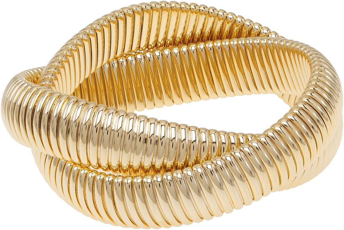 Janis Savitt Double Cobra Bracelet - High Polished Yellow Gold