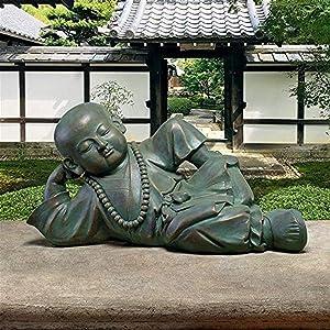 Design Toscano EU22736 Resting Serene Baby Buddha Garden Statue, Verdigris
