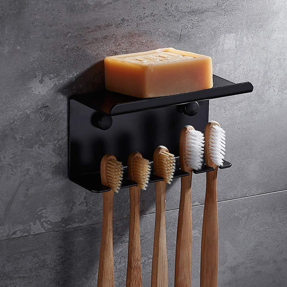 JWZ Stainless Steel Bathroom Toothbrush Holder Punching Wall Hanging Black Washing Brush Toothbrush Tube Rack, Black, a