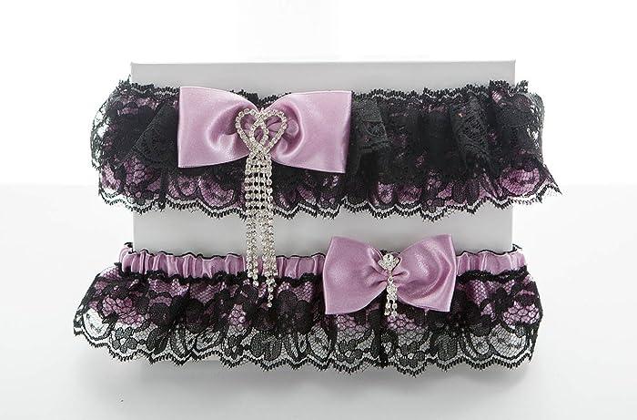8cf46befb683d Black and pink wedding garter set