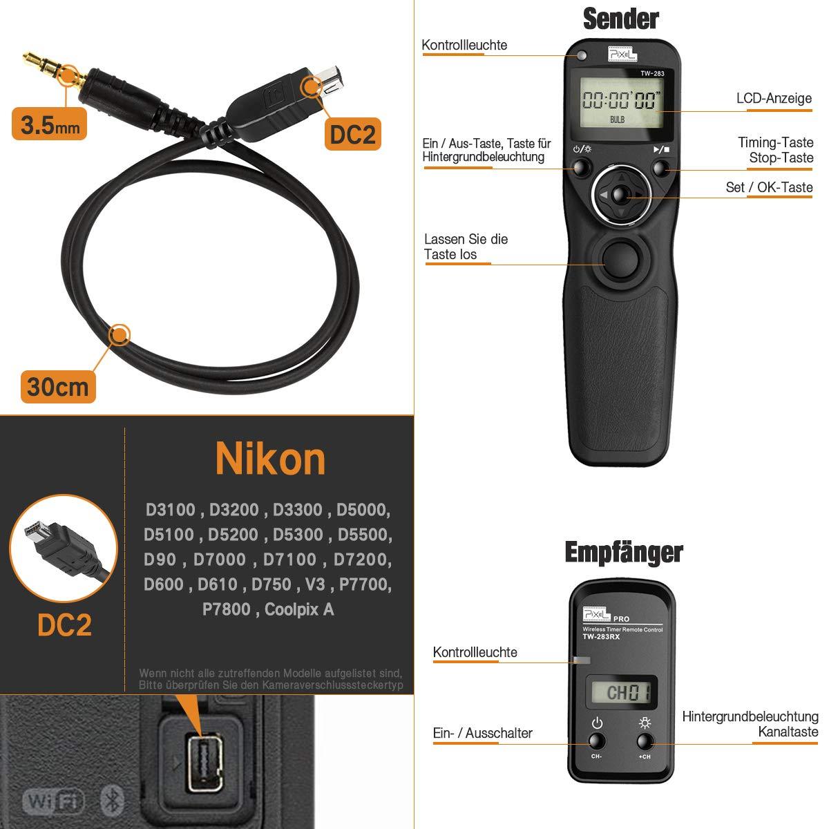 Pixel TW-283/ DC0 - Disparador a distancia inalámbrico para Nikon ...