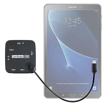DURAGADGET Lector De Tarjetas + HUB ¡6 en 1! con Conexión Micro USB para Tablet Samsung Galaxy Tab A 2016 SM-T580/T585 - con Luz LED