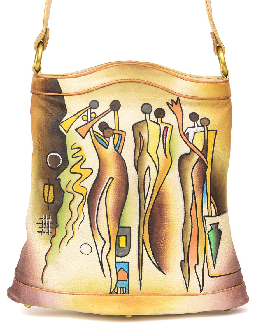 ZIMBELMANN CASSANDRA Genuine Nappa Leather Hand-painted Tote Shoulder Bag