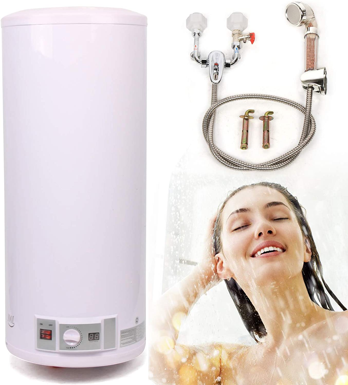 Termo Eléctrico de agua eléctrico Calentador de agua de 2KW de suspensión vertical Caldera de pared Con set de ducha, presostato y seguridad para niños, 30-75 ° C, 50/80/100/120 litros (120L)
