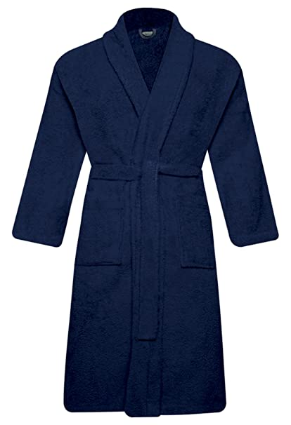 QCS MEN   WOMEN 100% COTTON TERRY TOWELLING SHAWL COLLAR BATHROBE DRESSING  GOWN ONE SIZE ebb08b49c