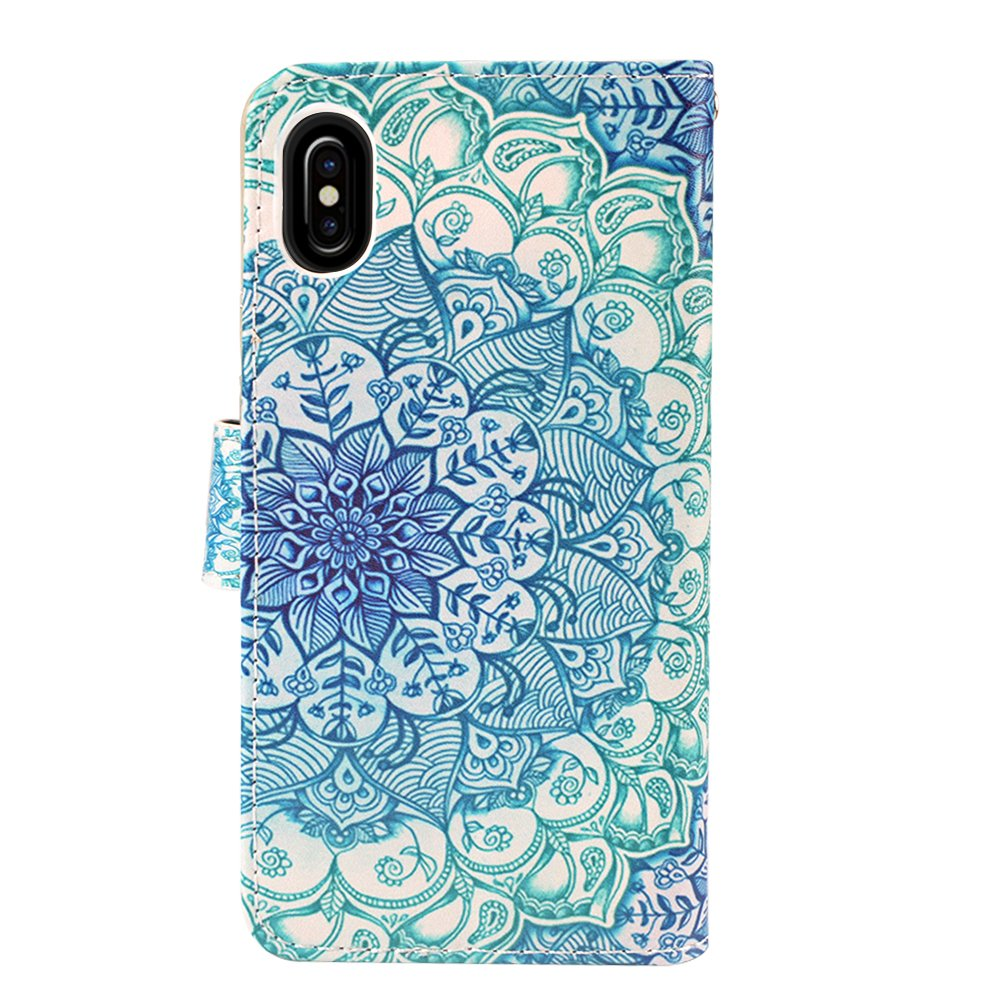 iPhone X Case, MagicSky iPhone X Wallet Case, Premium PU Leather Wristlet Flip Case Cover with Card Slots & Stand for Apple iPhoneX - Mandala Flower