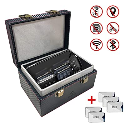 Aolfay Faraday Box, Signal Blocker Box for Car Keys, Keyless Cars Security Anti Theft Large Storage Box with 5 RFID Signal Blocking Cases, Shielding Pouch for Cell Phone and Car Key Privacy Protection: Car Electronics