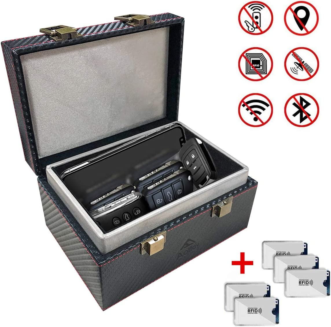 Keyless Cars Security Anti Theft Large Storage Box with 5 RFID Signal Blocking Cases Signal Blocker Box for Car Keys Aolfay Faraday Box Shielding Pouch for Cell Phone and Car Key Privacy Protection