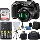"Nikon COOLPIX L340 20.2 MP Digital Camera (Black) + AA Batteries & Charger + 32GB SDHC Memory Card + 50"" Quality Tripod + Camera/Video Case - Full Value Bundle - International Version (No Warranty)"