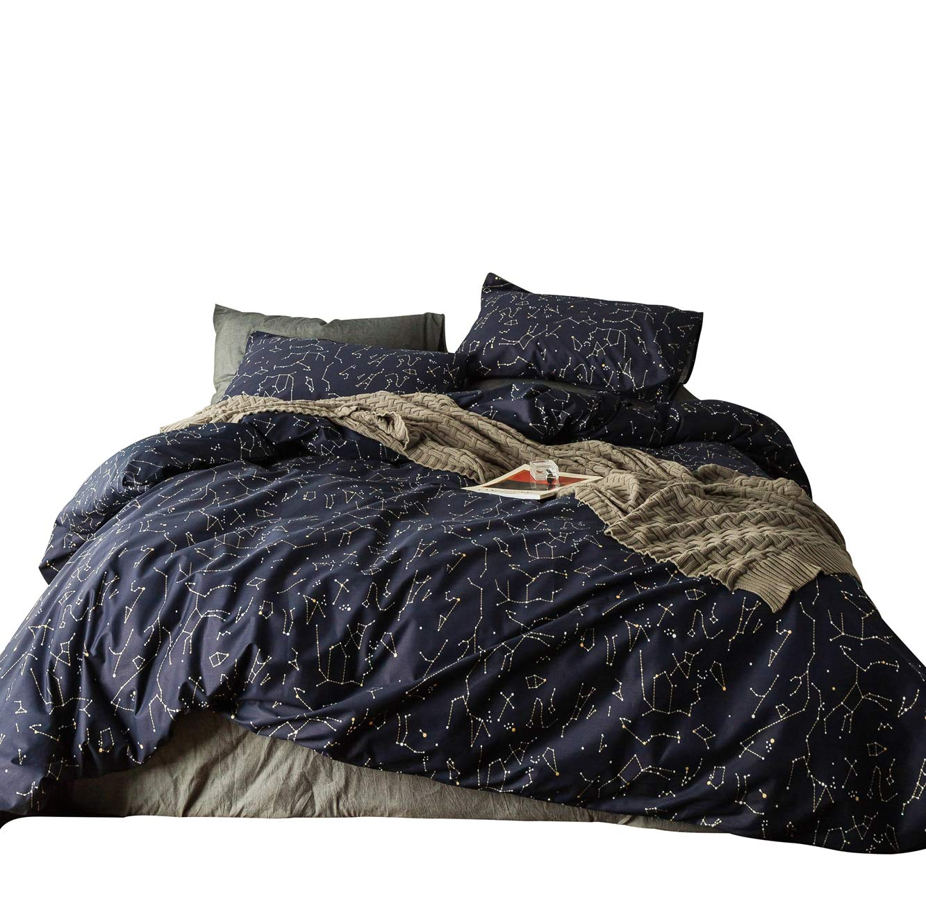 b845f877e1 SUSYBAO 3 Pieces Duvet Cover Set 100% Natural Cotton Queen Size Navy Blue  Constellation Print Bedding Set 1 Duvet Cover 2 Pillowcases Hotel Quality  Soft ...