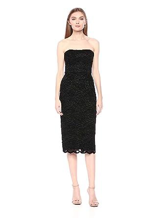 9ea4cb3462305 Dress the Population Women's Claire Strapless Sequin MIDI Sheath, Black/Charcoal  Velvet, X