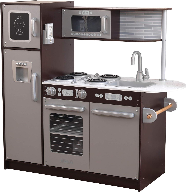 Amazon Com Kidkraft Uptown Espresso Kitchen Amazon Exclusive Multi 43 X 18 X 41 Toys Games
