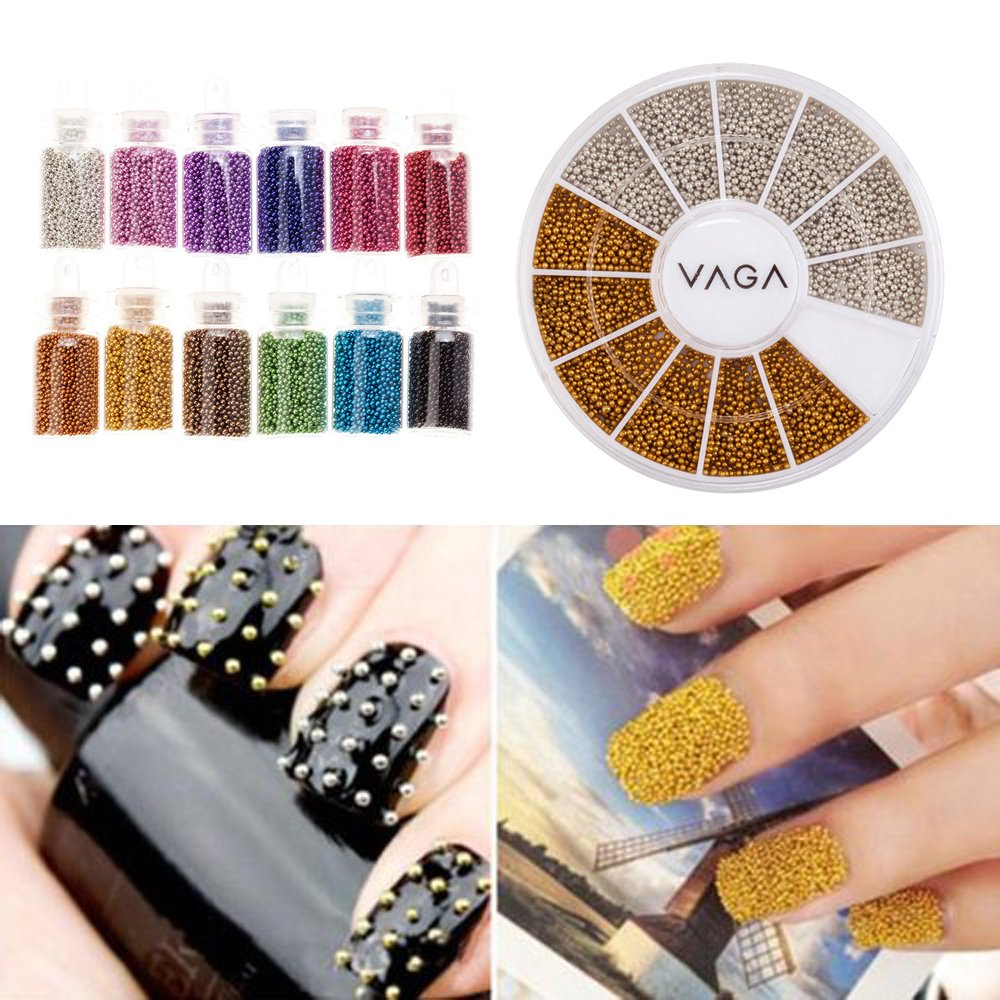 Fantastic Price And Quality Professional Set of Nail Art Decorations With Caviars Bottles in 12 Different Colours And Wheel of Silver And Golden Mini Beads / Pearls By VAGA