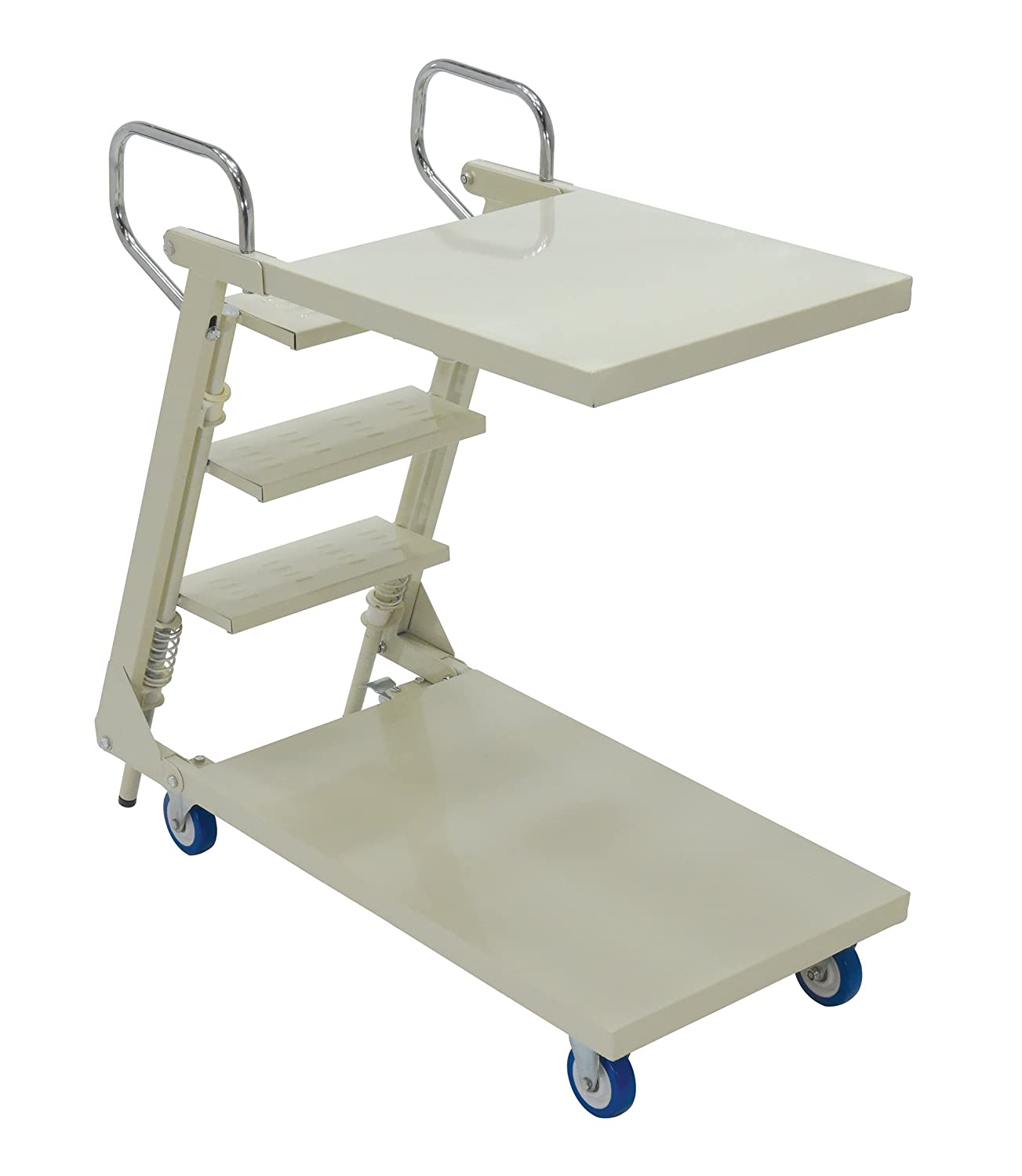 Vestil SPS2-2041-C Steel 2 Tray Cart with Step Ladder 440 lbs Load Capacity 40-7//8 Height 41-3//8 Length x 20-1//2 Width