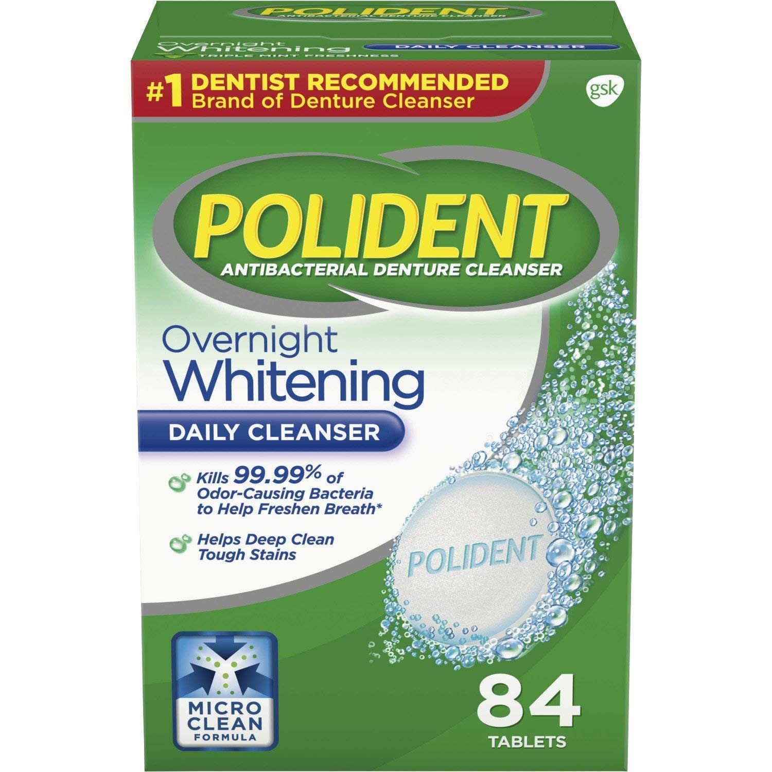 Polident Overnight Whitening Tablets - 84 ct, Pack of 5