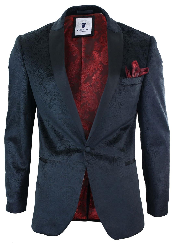 40feb0322 Marc Darcy Mens Velvet Paisley Black Fit Blazer Tuxedo Dinner Jacket Smart  Casual Black 36 delicate