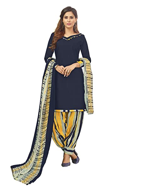 Kanchnar Women\'s Cotton Printed Salwar Suit Material with Dupatta