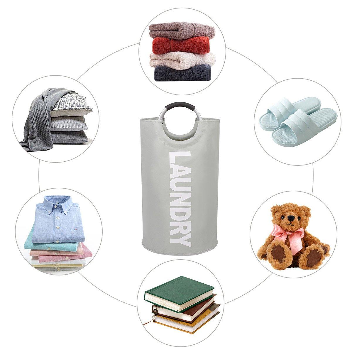 chrislley cesta para la ropa sucia (Oxford grande papelera plegable bolsa para la colada plegable lienzo Holder