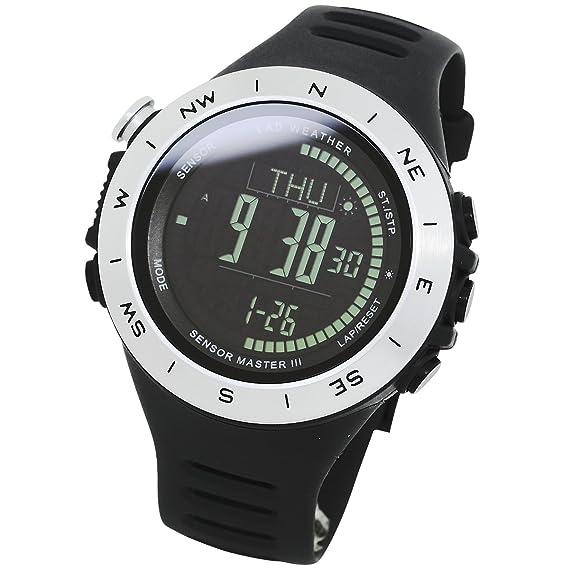 [LAD WEATHER] Sensor suizo Altímetro Barómetro Brújula digital 3D podómetro cuentakilómetros caloría deportivo reloj: Amazon.es: Relojes