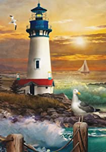 Briarwood Lane Sunset Lighthouse Summer Garden Flag Nautical 12.5