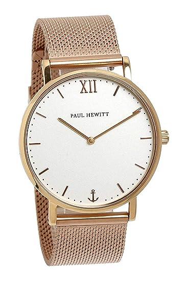Paul Hewitt - Reloj de Pulsera para Mujer (Correa de Malla, 36 mm), Color Oro Rosa: Amazon.es: Relojes
