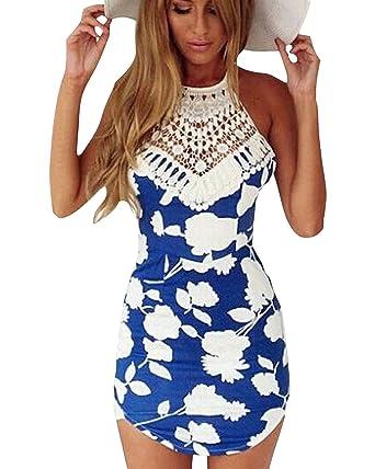 Minetom Femme Sexy Mini Robe Florale En Crochet Slim Dos Nu D Été Playsuit  Parfait Pour Party Soirée Bar Cocktail  Amazon.fr  Vêtements et accessoires bac5847a83b8