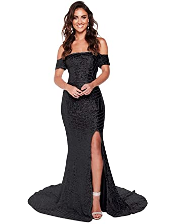 e8917753342 Oufeisha Womens Off Shoulder Prom Dresses Mermaid Long Sequins Evening Formal  Gown with Silt OFSP171 Black