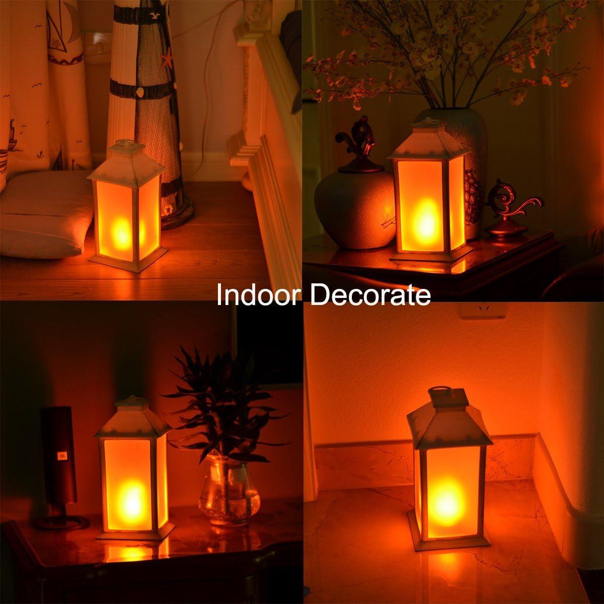 Indoor//Outdoor Hanging Lantern,Decorative Candle Lantern zkee 13 Vintage Style Decorative Lantern,Flickering Flame Effect LED Lantern, Golden Brushed White,4 Hours Timer Battery Included Set of 2