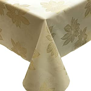 "CAIT CHAPMAN HOME COLLECTION Holiday Golden Poinsettia Metallic Yarn Dyed Jacquard Woven Tablecloth and Runner (60"" x 120"" Tablecloth)"
