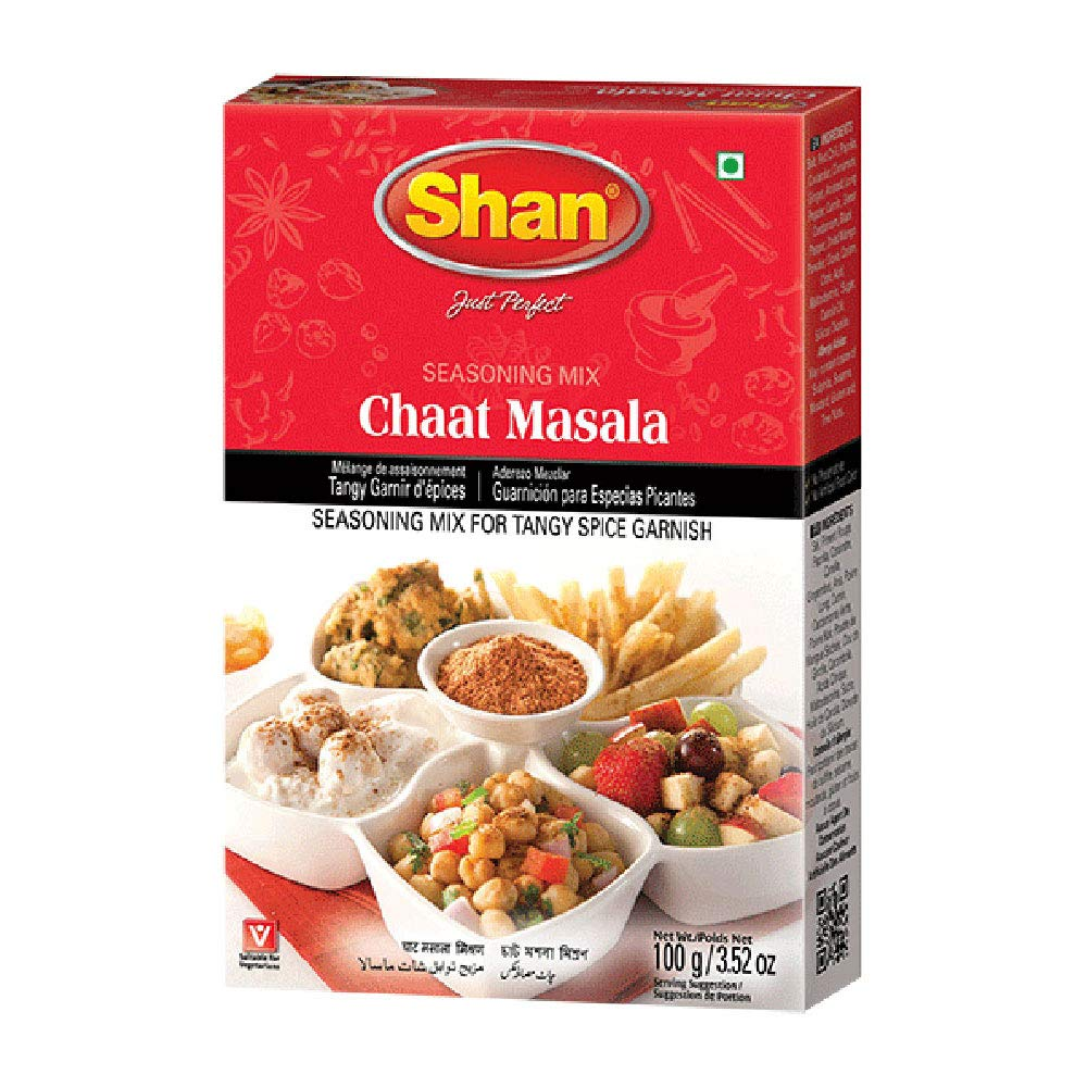 Shan Chaat Masala Seasoning Mix 3.52 oz (100g) - Spice Powder for Tangy and Spicy Garnish on Savory Snacks - Suitable for Vegetarians - Airtight Bag in a Box