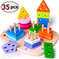 Wooden Educational Preschool Learning Shape Color Recognition Geometric Board Block Stacking Sorting Puzzle Toys, Birthday Gift Toy for Age 3 4 5 Years Old and Up Kid Children Baby Toddler Boy Girl