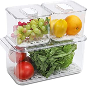 REFSAVER Fridge Storage Containers Produce Saver Stackable Refrigerator Organizer Bins with Removable Drain Tray Fridge Organizer for Fruits and Vegetables 3 Pack