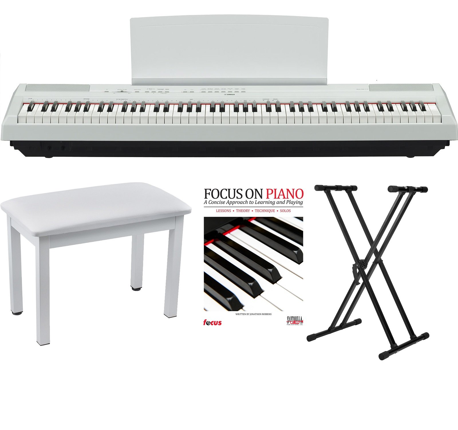 Yamaha P115 88 Weighted Keys White Digital Piano w/ Knox Piano Bench, Stand & Music Book