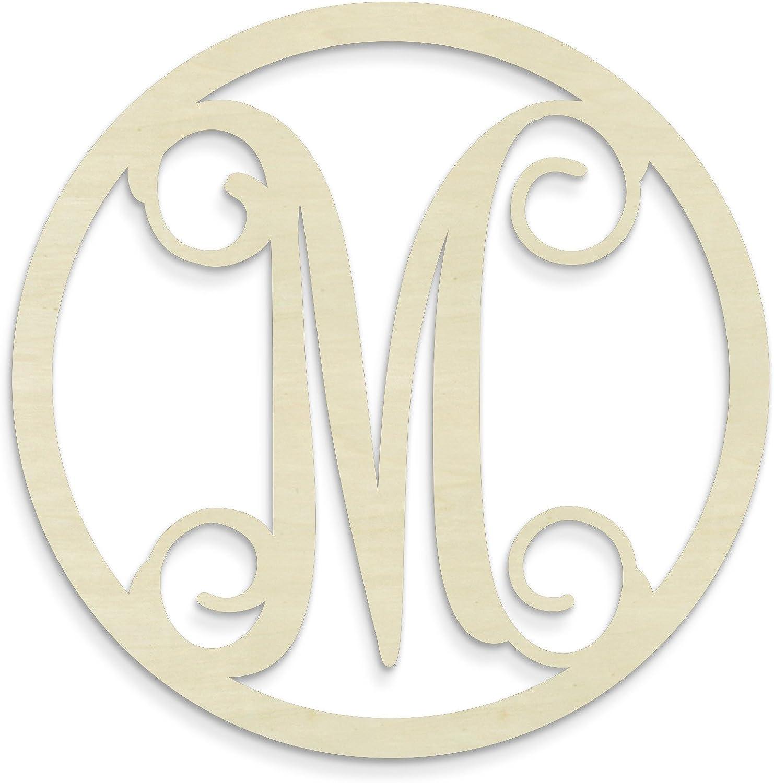UNFINISHEDWOODCO Single Letter Circle Monogram-M, 19-Inch, Unfinished