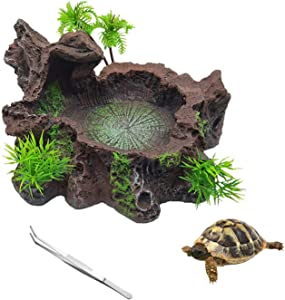 HERCOCCI Resin Reptile Tank Decor Platform Artificial Tree Trunk Design Reptile Food Dish Water Bowl with Feeding Clamp for Lizard Tortoise Leopard Gecko Bearded Dragon Frog and Other Reptiles