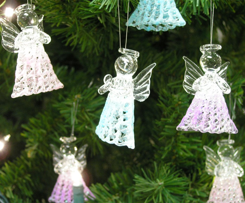 Amazoncom Glass Angel Decorations Set of 6 Spun Glass Praying