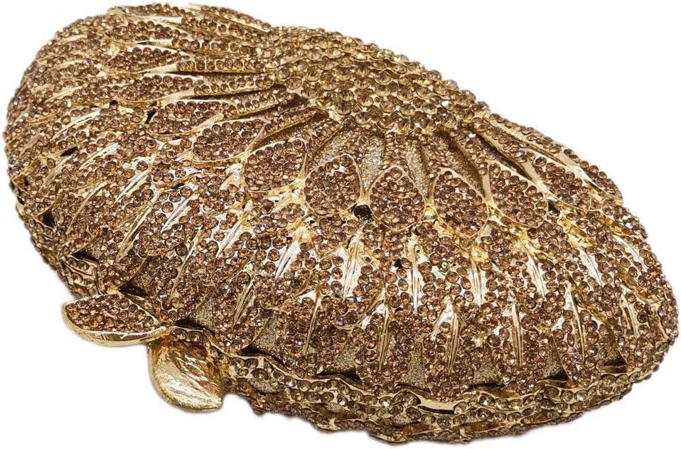 XLJJB Elegante Meaudiere Pochette da Sera in Cristallo da Donna con Pavone Dorato Borsa da Pranzo con Diamanti Borse E Borsette Gold Evening Bags